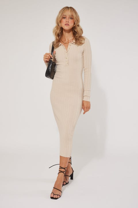 Perfect Stranger Long Ago Knit Dress Nude