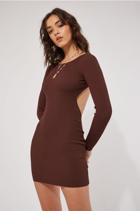 Perfect Stranger York Tie Back Knit Dress Brown