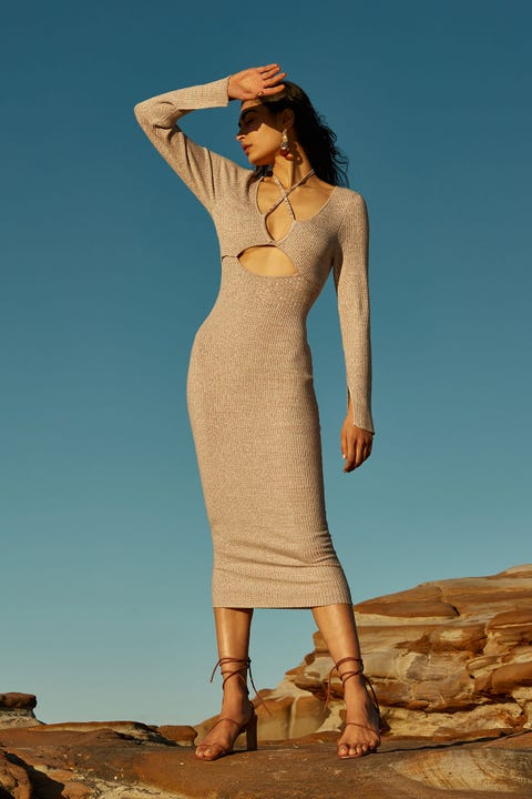 Perfect Stranger Arizona Sleeved Knit Dress Nude