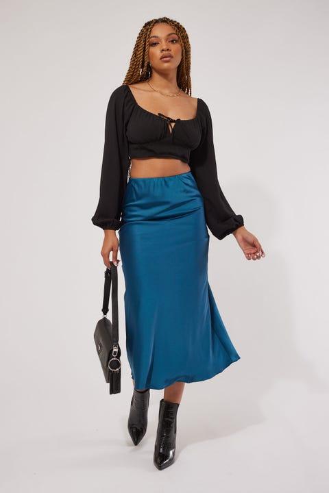 Perfect Stranger The Satin Midi Skirt Teal