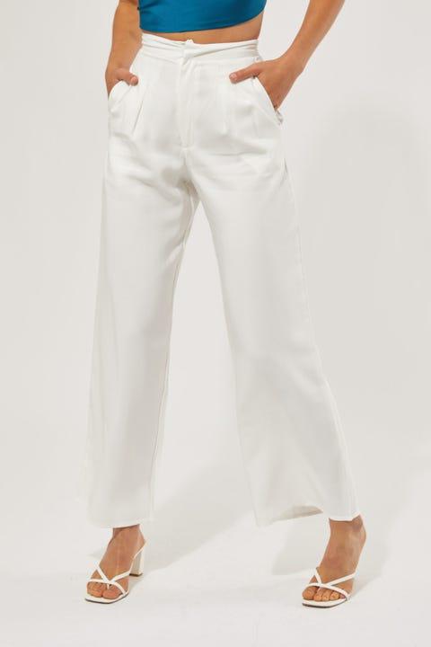 Perfect Stranger Double Pleat Pant White