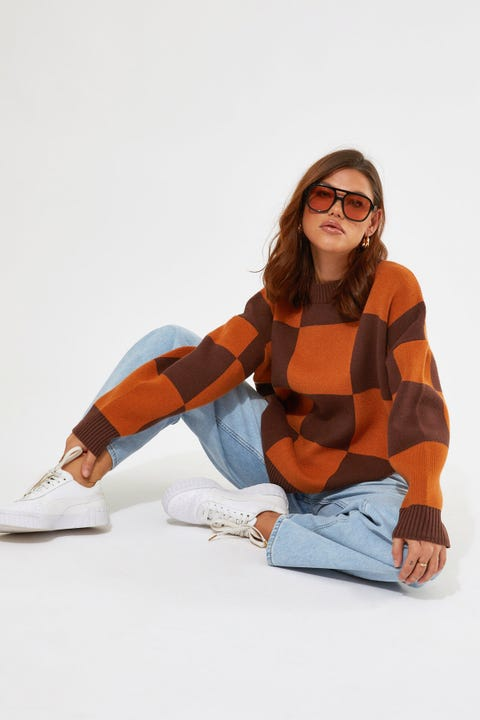 Luck & Trouble Oversized Check Knit Jumper Brown check