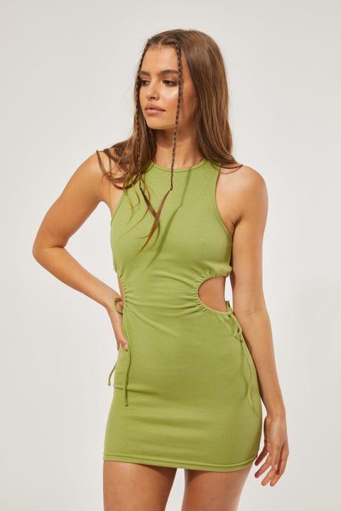 Perfect Stranger Cinch Side Mini Dress Green