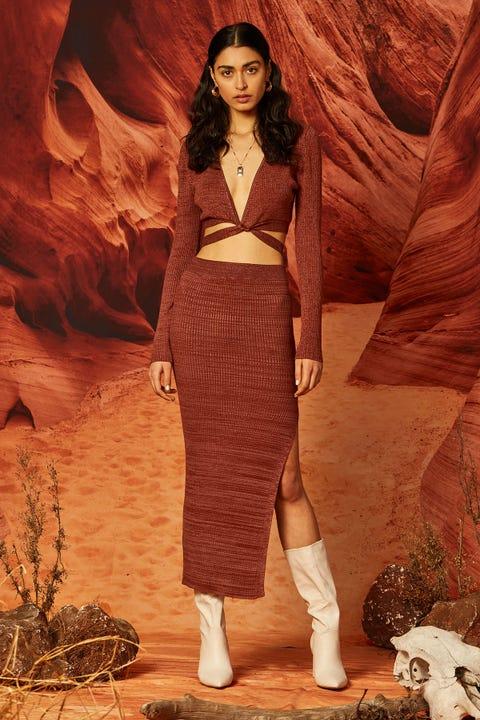 Perfect Stranger Arizona Two Tone Knit Midi Skirt Rust