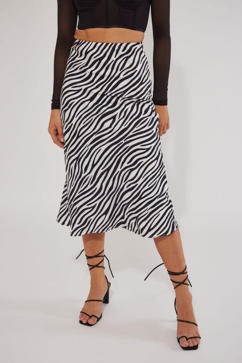 Luck & Trouble Zebra Satin Midi Skirt Black Print