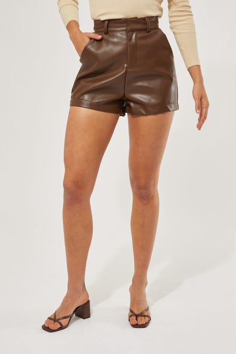 Perfect Stranger Neo Faux Leather Short Chocolate Brown