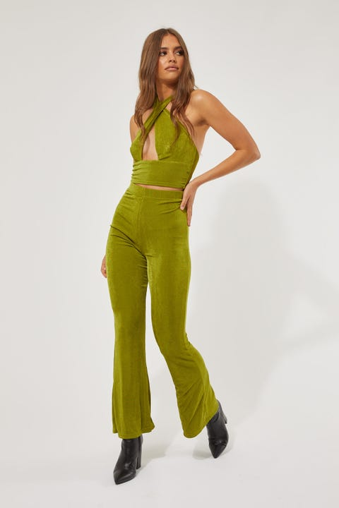 Luck & Trouble Stand Out Flare Pants Green