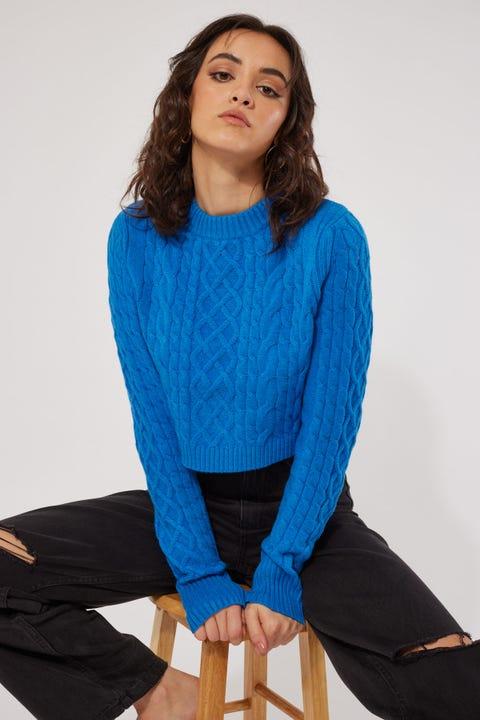 Perfect Stranger Inez Cable Knit Cobalt Blue