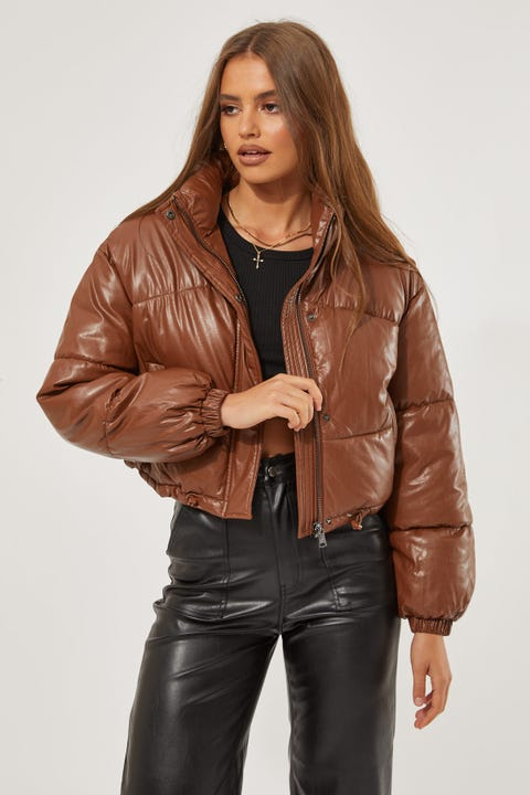Luck & Trouble Faux Leather PUFFER JACKET Brown