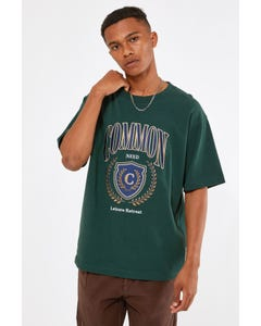 Common Need Crest Organic Boxy Tee Forest Green