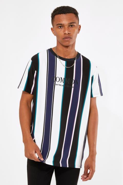 Common Need Naples Standard Stripe Tee Black/Pink/Navy Stripe