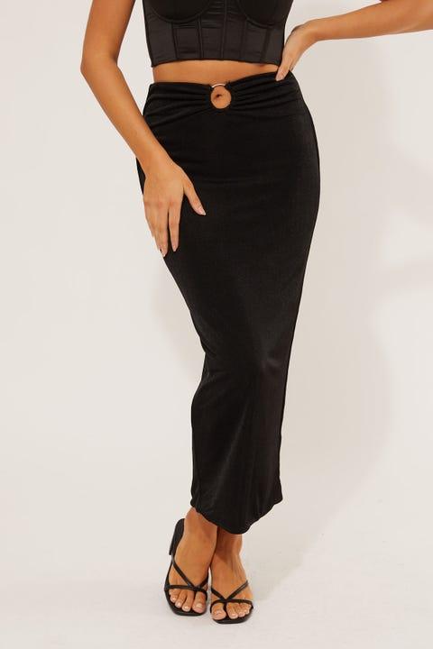 Perfect Stranger Betty O-Ring Midi Skirt Black