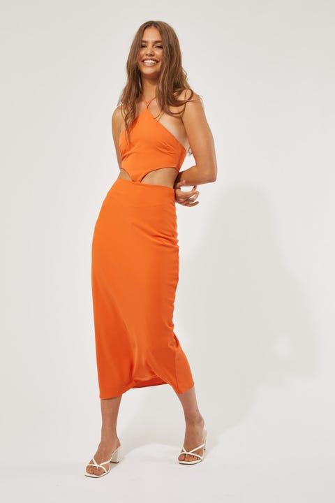 Perfect Stranger Genie Midi Dress Orange