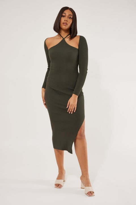 Perfect Stranger Victoria Knit Midi Dress Olive