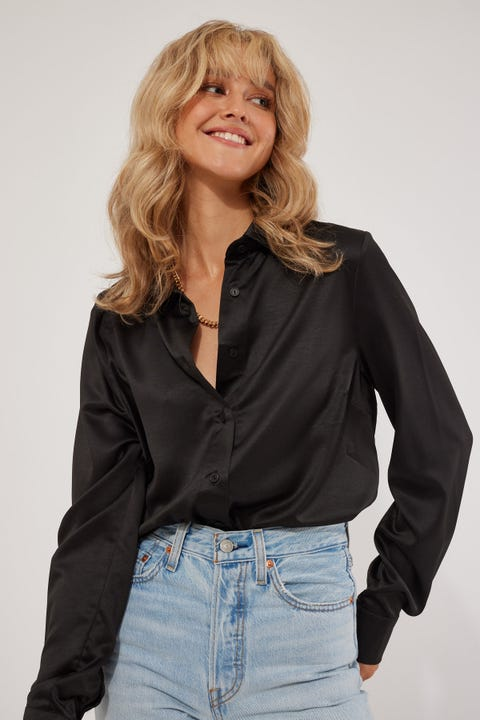 Perfect Stranger Button Up Satin Dress Shirt Black