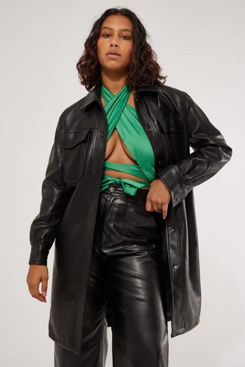 Perfect Stranger Dozer Longline Faux Leather Jacket Black
