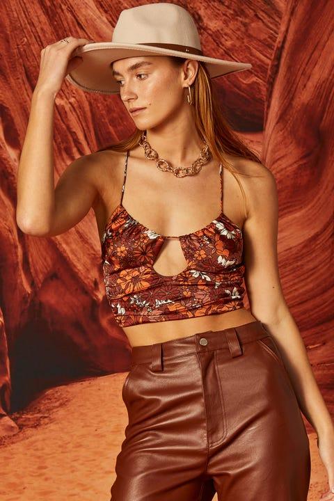 Perfect Stranger Arizona Tie Up Crop Top Brown Floral