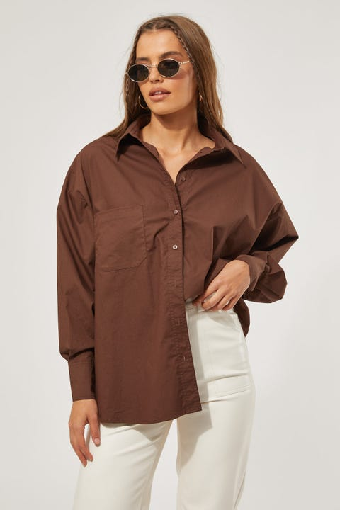 Perfect Stranger Oversized Button Up Shirt Brown