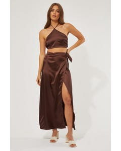 Perfect Stranger Wrap Maxi Skirt Brown