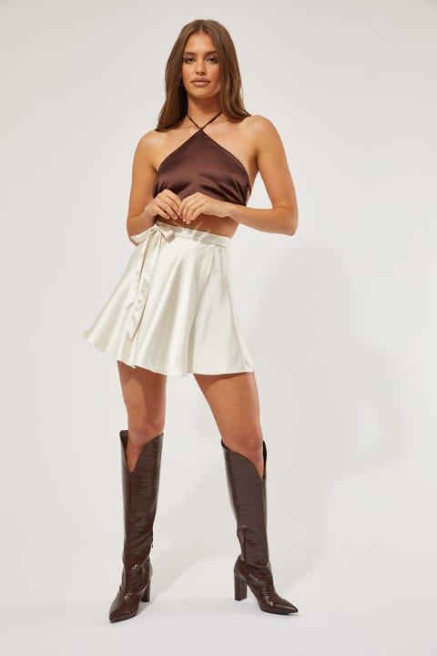Perfect Stranger Circle Wrap Mini Skirt Nude