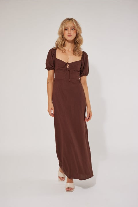 Perfect Stranger Isabelle Long Sleeve Dress Brown