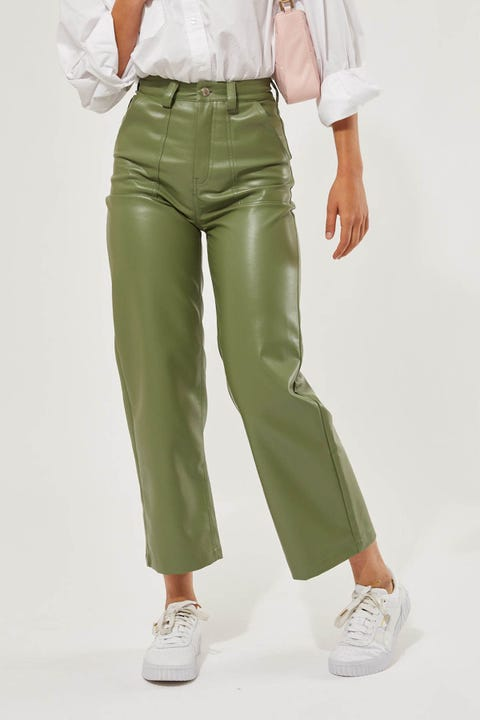 Perfect Stranger Over Now Faux Leather Pant Green