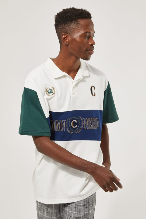 Common Need Panelled Short Sleeve Rugby Off-White
