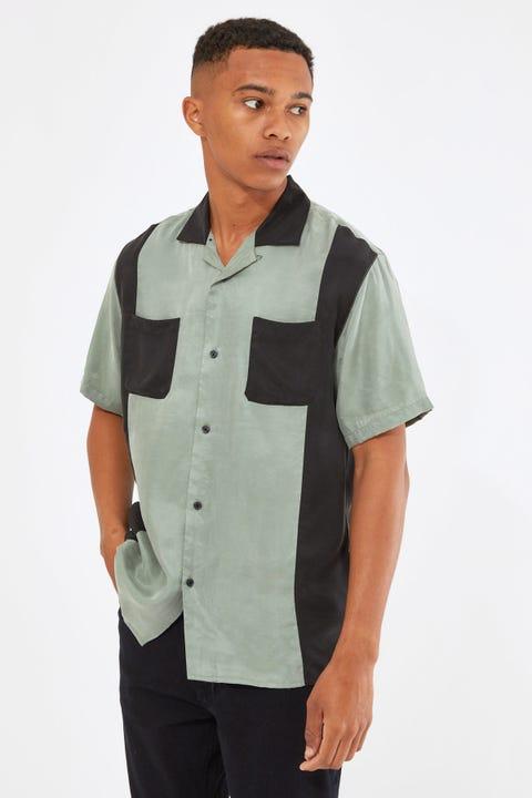 Common Need Bowling Resort Collar Shirt Green/Black