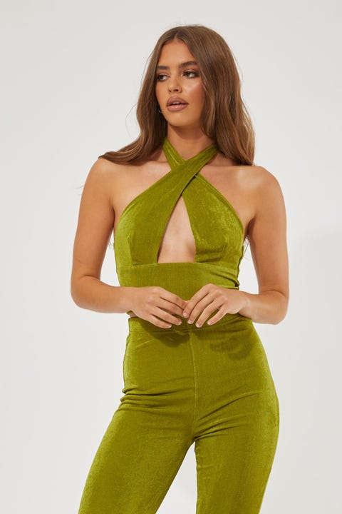 Luck & Trouble Stand Out Tie Up Top GREEN
