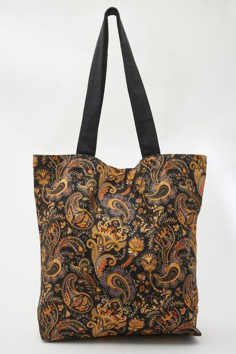 Common Need 70's Paisley Tote Bag Black Organic Cotton