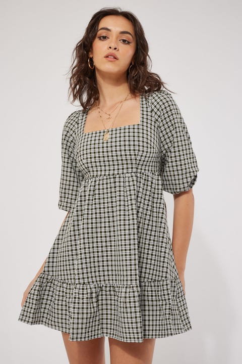 Luck & Trouble Longsleeve Tiered Mini Dress Olive Check