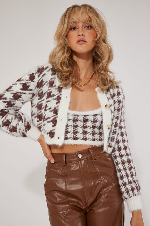 Luck & Trouble Houndstooth Cardigan Set Brown Print