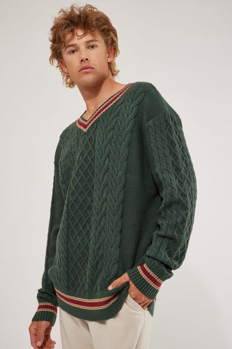 Common Need Oversized V-Neck Sweater Green