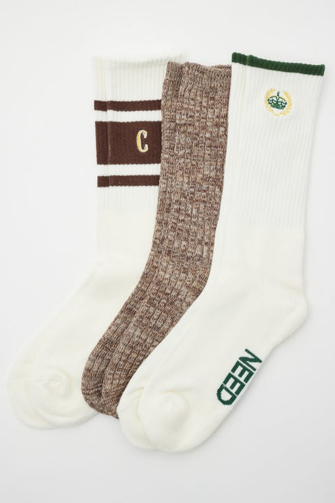 Common Need Preppy Sock 3 Pack Off-White/Brown Marle