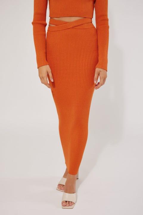 Perfect Stranger Montana Knit Midi Skirt Orange