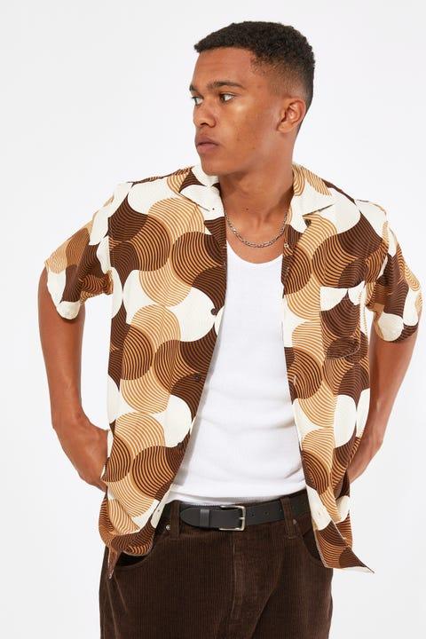 Common Need Rubin Shirt Resort Collar Shirt Brown Print
