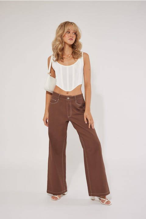 Luck & Trouble Low Rise Straight Leg Pant Brown
