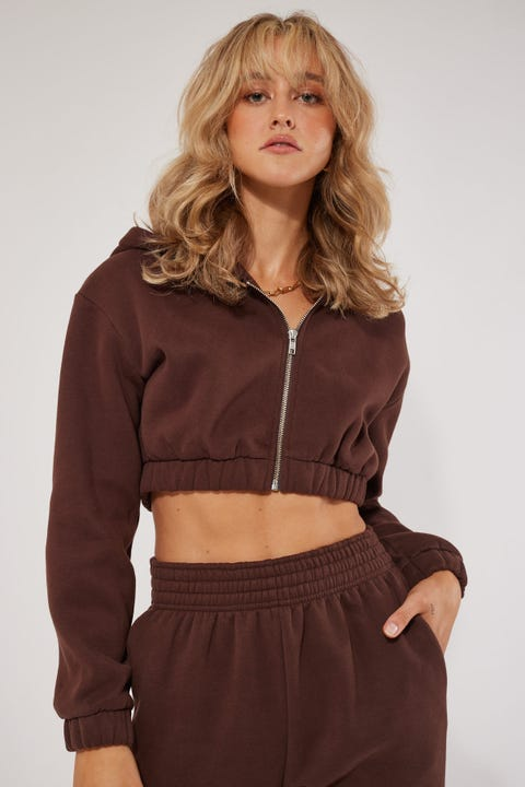 Luck & Trouble Long Time Cropped Hoodie Brown