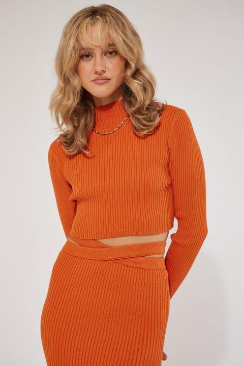 Perfect Stranger Long Sleeve Knit crop Top Orange