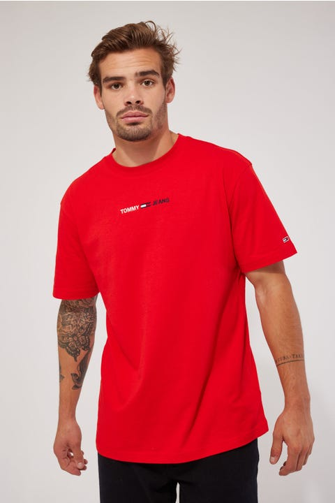 Tommy Jeans TJM Linear Logo Tee Deep Crimson