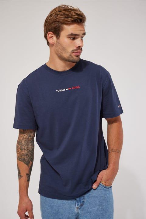 Tommy Jeans TJM Linear Logo Tee Twilight Navy