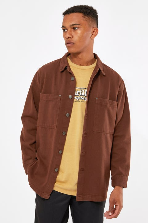 Common Need Drill Overshirt Washed Brown