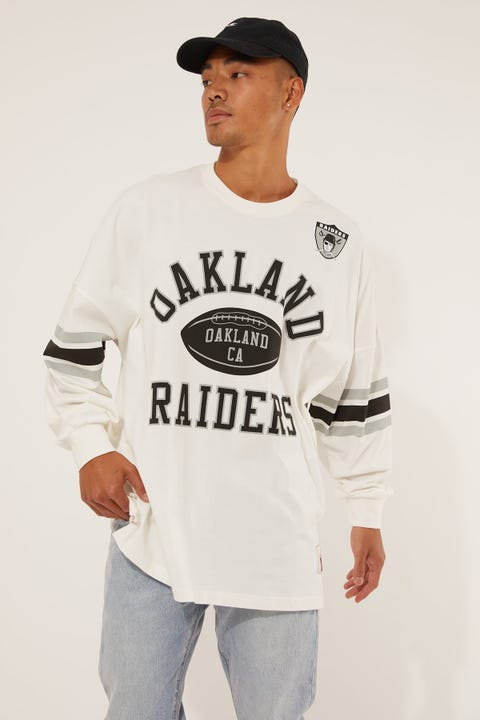 Mitchell & Ness Oakland Raiders Spin Off Long Sleeve Jersey T-Shirt Vintage White