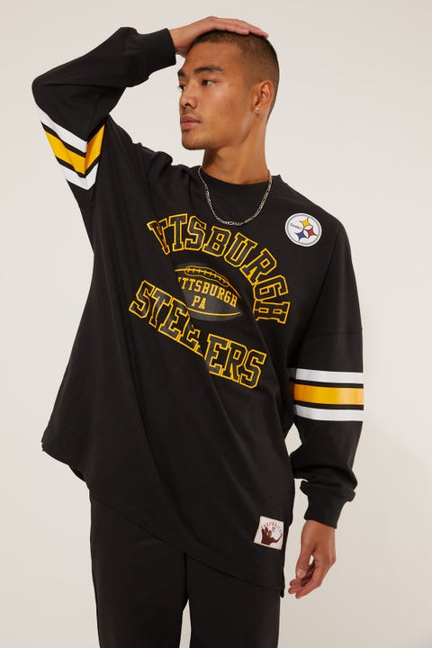 Mitchell & Ness Steelers Spin Off Long Sleeve Jersey T-Shirt Faded Black