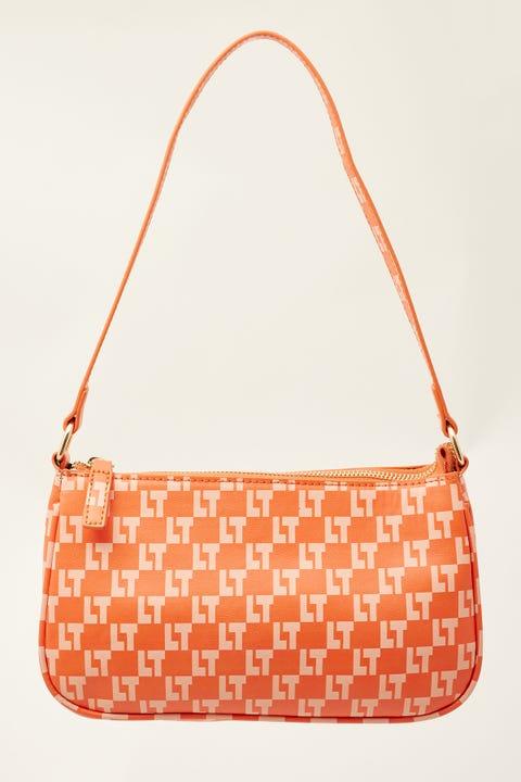 Token Monogram Check Shoulder Bag Orange Print