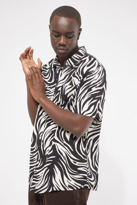 Common Need Warped Zebra Party Shirt Black White