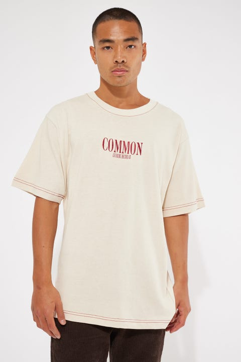Common Need Contrast Stitch Organic Boxy Tee Natural