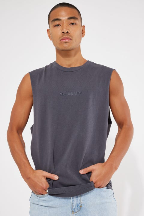 Common Need Warrior Boxy Muscle Tank Vintage Black