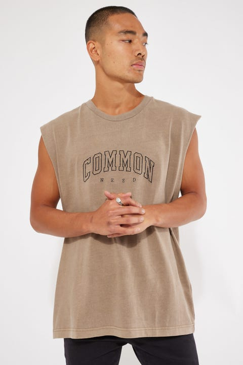 Common Need Recognize Cut Off Muscle Tank Mocha