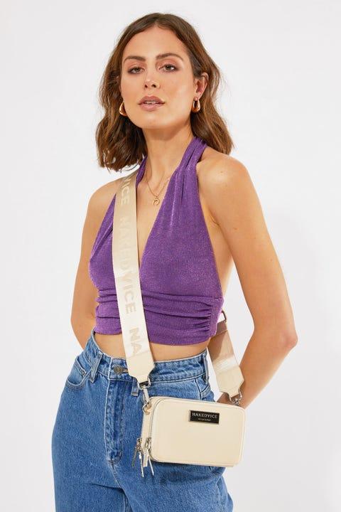 Nakedvice The Lexie Ivory Nylon Side Bag